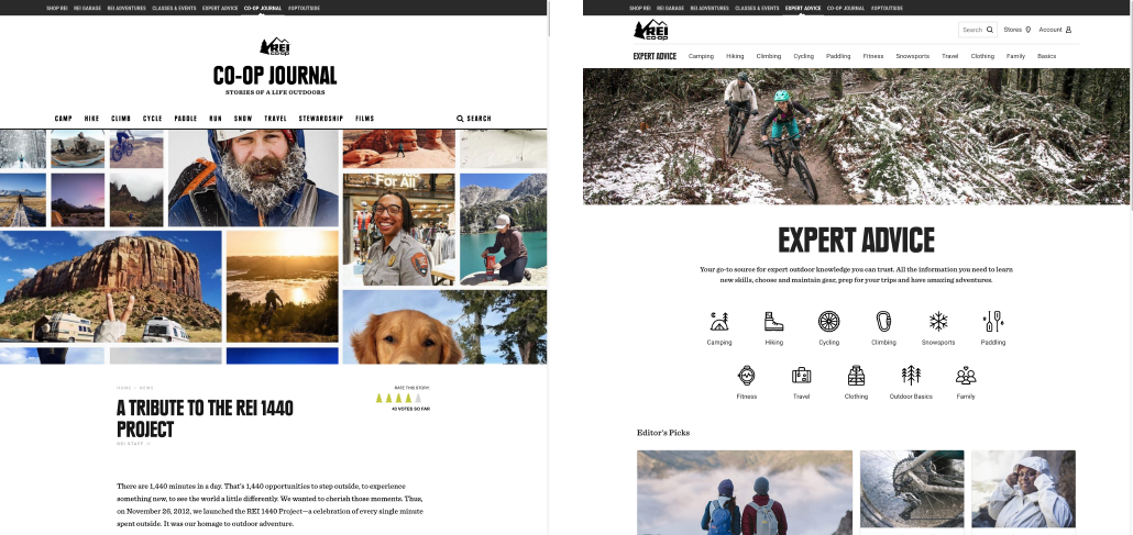 REI Co-Op Journal Microsites